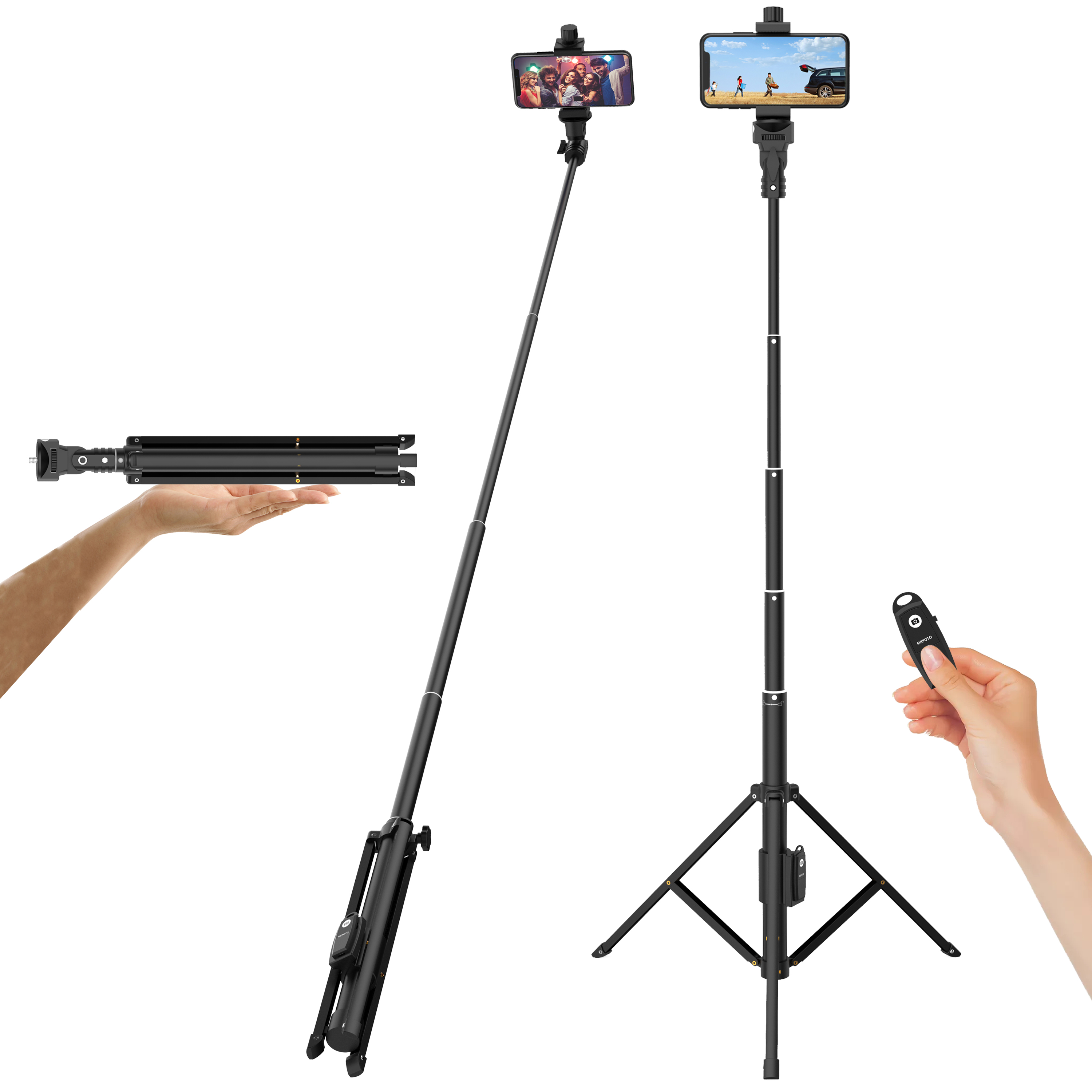 Selfie Stick Tripod for Phone or Camera with Rechargeable